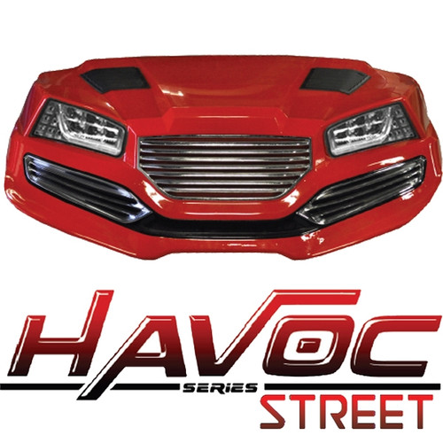 Madjax Red HAVOC Front Cowl w/ Street Fascia & Headlights for Yamaha Drive/G29 (Fits 2007-2016)