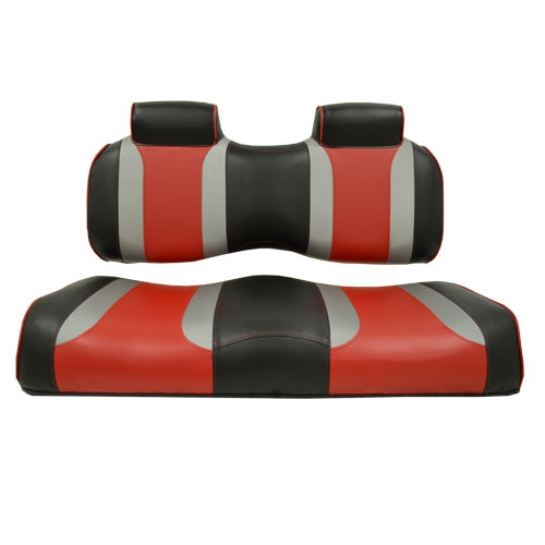 Madjax TSUNAMI Shockjet–Liquid Silver w/ Hot Rod Red Front Seat Cushion Set