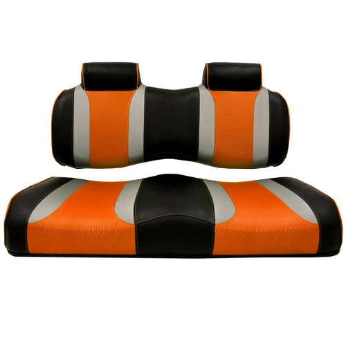Madjax TSUNAMI Black–Liquid Silver/Orange Wave Front Seat Cushion Set