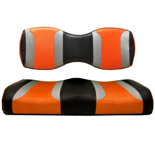 Madjax TSUNAMI Black–Liquid Silver w/ Orange Wave Rear Seat Cushion Set