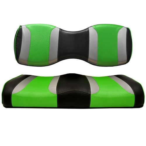Madjax TSUNAMI Black W/ Liquid Silver Rush & Green Wave Rear Seat Cushion Set - Fits Genesis 250/300 Rear Seat Kits