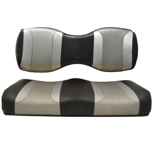 Madjax TSUNAMI Black Liquid Silver w/ Silver Rush Rear Seat Cushion Set - Fits Genesis 250/300 Rear Seat Kits