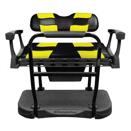 Madjax Genesis 250 Rear Flip Seat with Black/Yellow RIPTIDE Standard Cushions