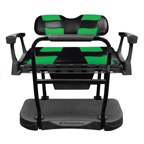 Madjax Genesis 250 Rear Flip Seat with Black/Green RIPTIDE Standard Cushions