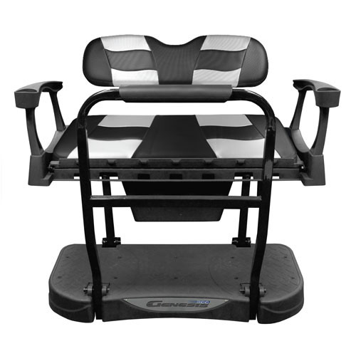 Madjax Genesis 250 Rear Flip Seat with Black Carbon/Silver Carbon RIPTIDE Standard Cushions