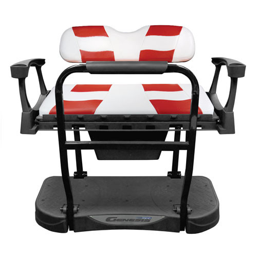 Madjax Genesis 250 Rear Flip Seat with White/Red RIPTIDE Standard Cushions