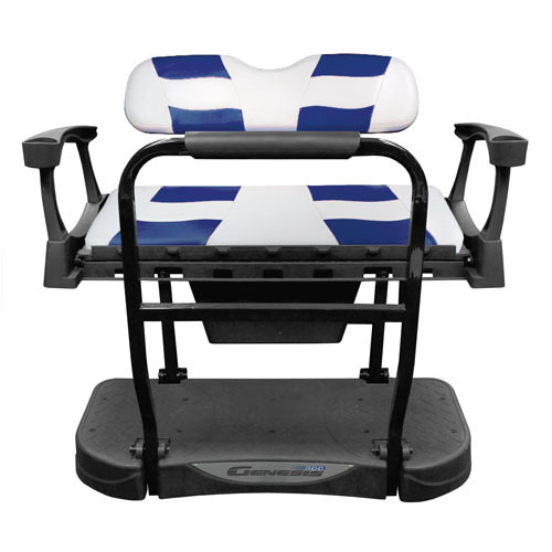 Madjax Genesis 250 Rear Flip Seat with White/Blue RIPTIDE Standard Cushions