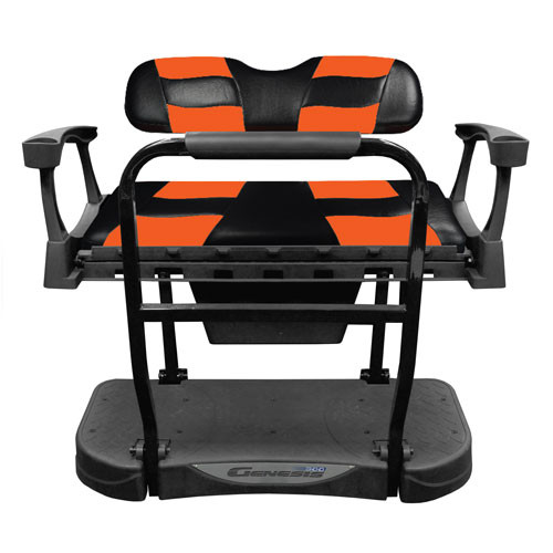 Madjax Genesis 300 Rear Flip Seat with Black/Orange RIPTIDE Standard Cushions