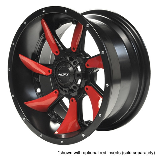 "Madjax 14"" Blackhawk Black Satin Wheel with Red Inserts (Set of 4)"