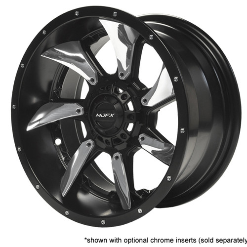 "Madjax 14"" Blackhawk Black Satin Wheel with Chrome Inserts (Set of 4)"