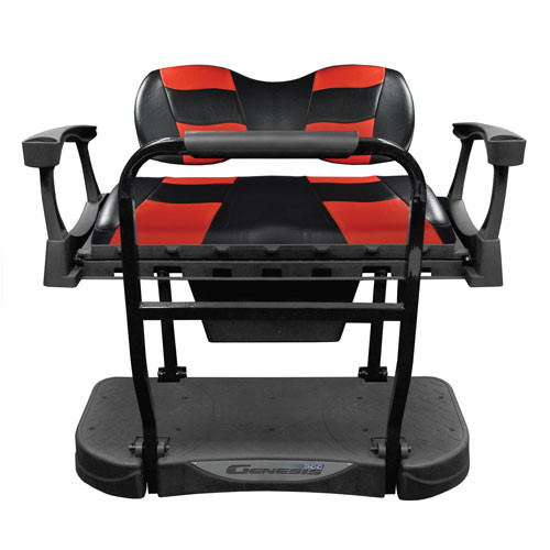 Madjax Genesis 300 Rear Flip Seat with Deluxe Black/Red RIPTIDE Cushions