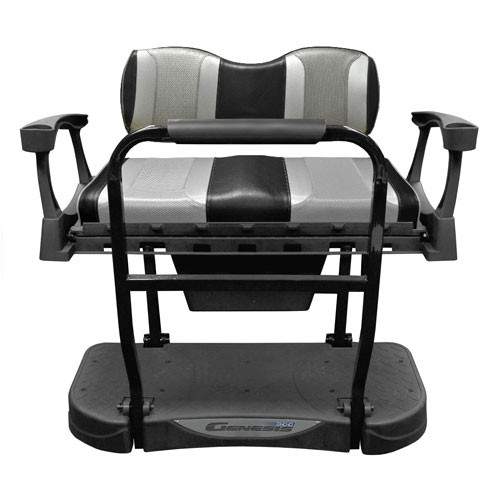 Madjax Genesis 300 Aluminum Rear Seat with TSUNAMI Black Liquid Silver/Silver Rush Cushions