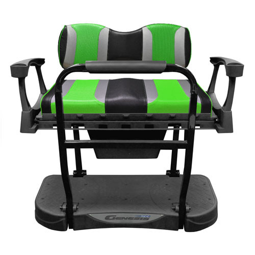 Madjax Genesis 300 Aluminum Rear Seat with TSUNAMI Black Liquid Silver/Green Wave Cushions