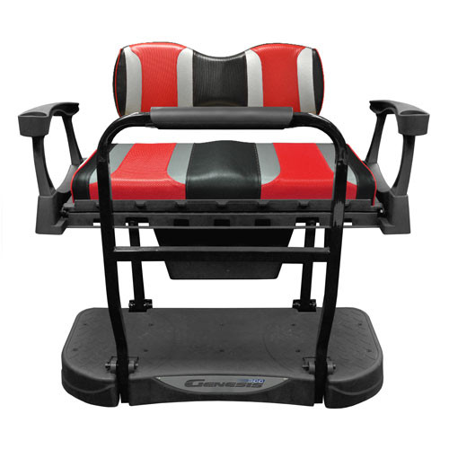 Madjax Genesis 300 Aluminum Rear Seat with TSUNAMI Shockjet-Liquid Silver/Hot Rod Red Cushions