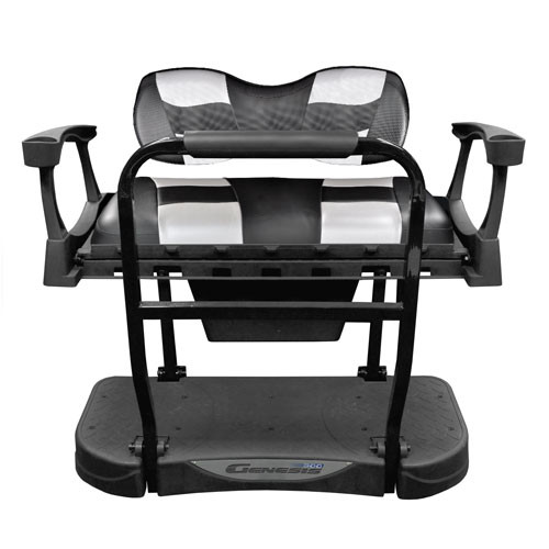 Madjax Genesis 300 Rear Flip Seat with Deluxe Black Carbon/Silver Carbon RIPTIDE Cushions