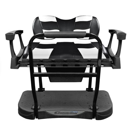 Madjax Genesis 250 Rear Flip Seat with Deluxe RIPTIDE Black/White Cushions