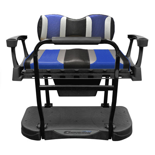Madjax Genesis 250 Steel Rear Seat with TSUNAMI Black Liquid Silver/ Freestyle Wave Cushions