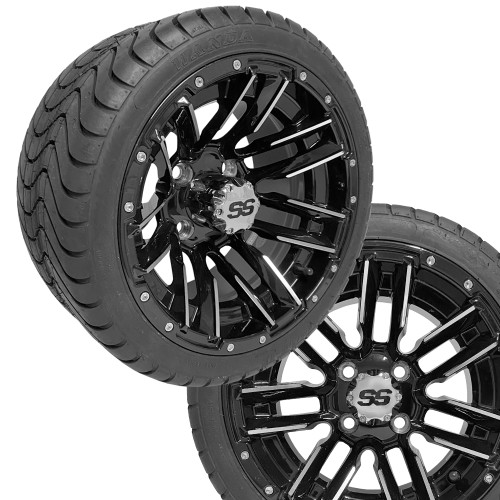 "12"" SLEDGE Machined/Black Wheels on 215/35-12 Venom Street Tires (Set of 4)"