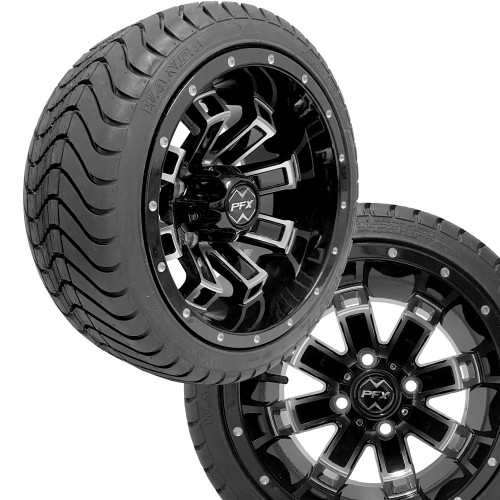 "12"" RECLUSE FX Machined/Black Wheels on 215/35-12 Venom Street Tires (Set of 4)"