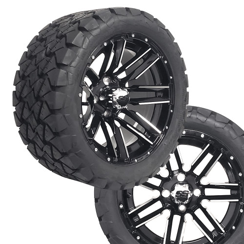 """14"""" SLEDGE Machined/Black Wheels on 22x10x14 Overkill A/T Tires (Set of 4)"""