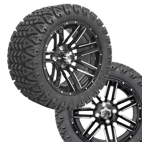 "14"" SLEDGE Machined/Black Wheels on 23x10x14 Carlisle All Trail A/T Tires (Set of 4)"