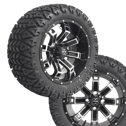 """14"""" RECLUSE FX Machined/Black Wheels on 23x10x14 Carlisle All Trail A/T Tires"""