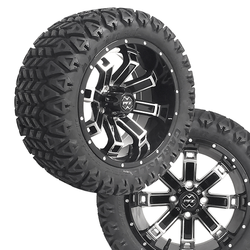 "14"" RECLUSE FX Machined/Black Wheels on 23x10x14 Carlisle All Trail A/T Tires"