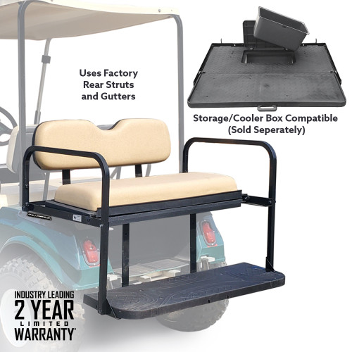 Challenger SE Rear Seat - Fits Club Car DS  1982-up  (Buff Cushions)