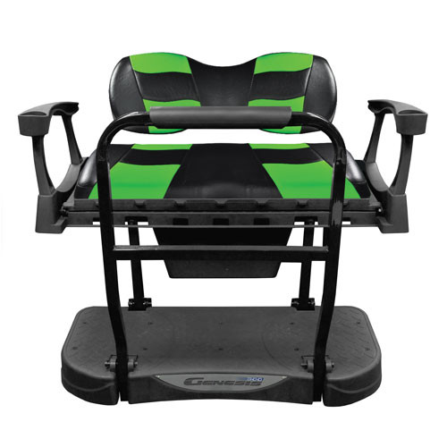 Madjax Genesis 300 Rear Flip Seat with Deluxe Black/Green RIPTIDE Cushions