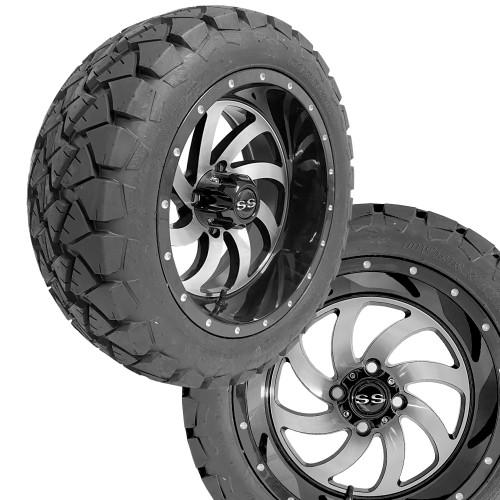 "14"" PHANTOM Machined/Black Wheels on 22x10x14 Overkill A/T Tires"