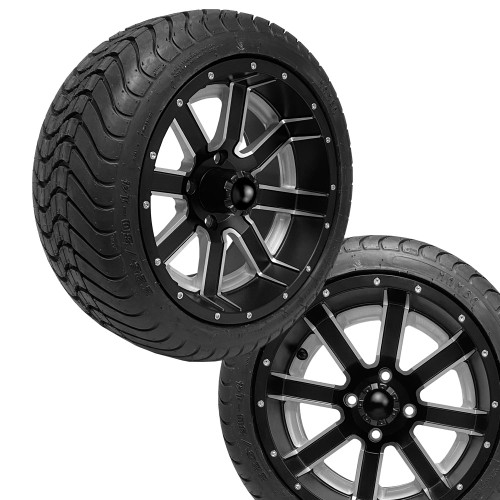 14x7 AMBUSH Matte Black Wheels on 225/30-14 Mamba Street Tires