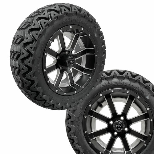14x7 AMBUSH Matte Black Wheels on 23x10x14 Predator A/T Tires