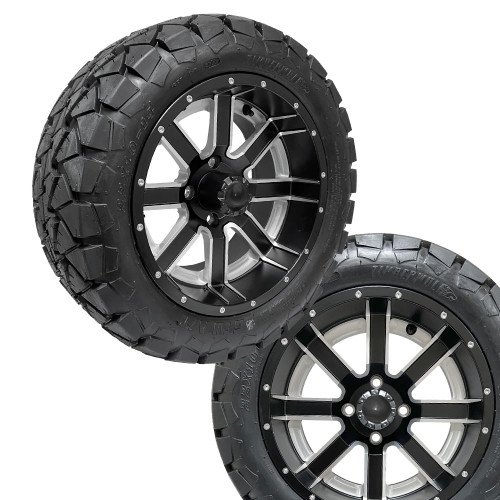 14x7 AMBUSH Matte Black Wheels on 22x10x14 Timber Wolf A/T Tires