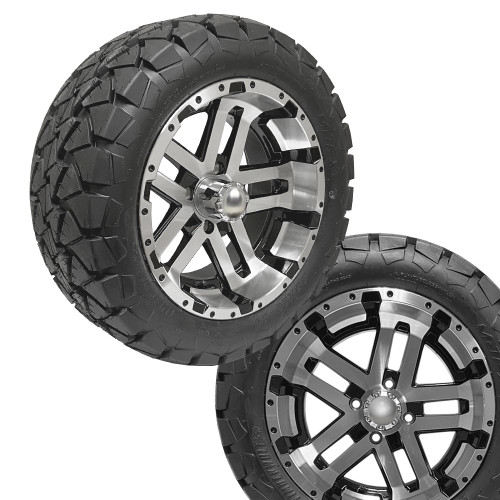 14x7 JUDGE Machined/Black Wheels on 22x10x14 Timber Wolf A/T Tires