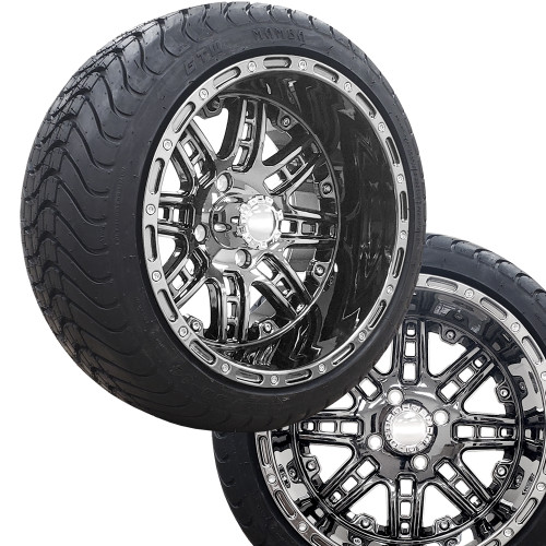 "14"" PRIZM Smoke Chrome Wheels on 225/30-14 Mamba Street Tires (Set of 4)"