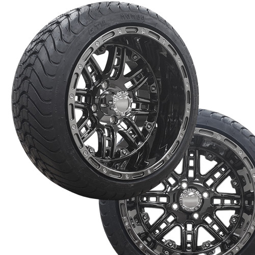 "14"" PRIZM SHADOW Black Chrome Wheels on 225/30-14 Mamba Street Tires (Set of 4)"