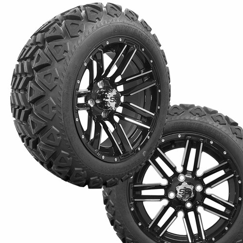 """14"""" SLEDGE Machined/Black Wheels on 23x10x14 Journey A/T Tires"""