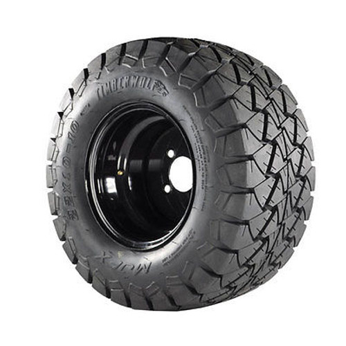 10x8 Black Steel Wheels on 22x10x10 Timber Wolf A/T Tires