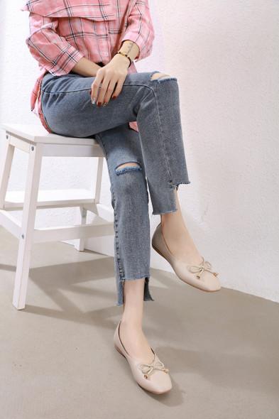 Kayla Beige Flats - online 30% off