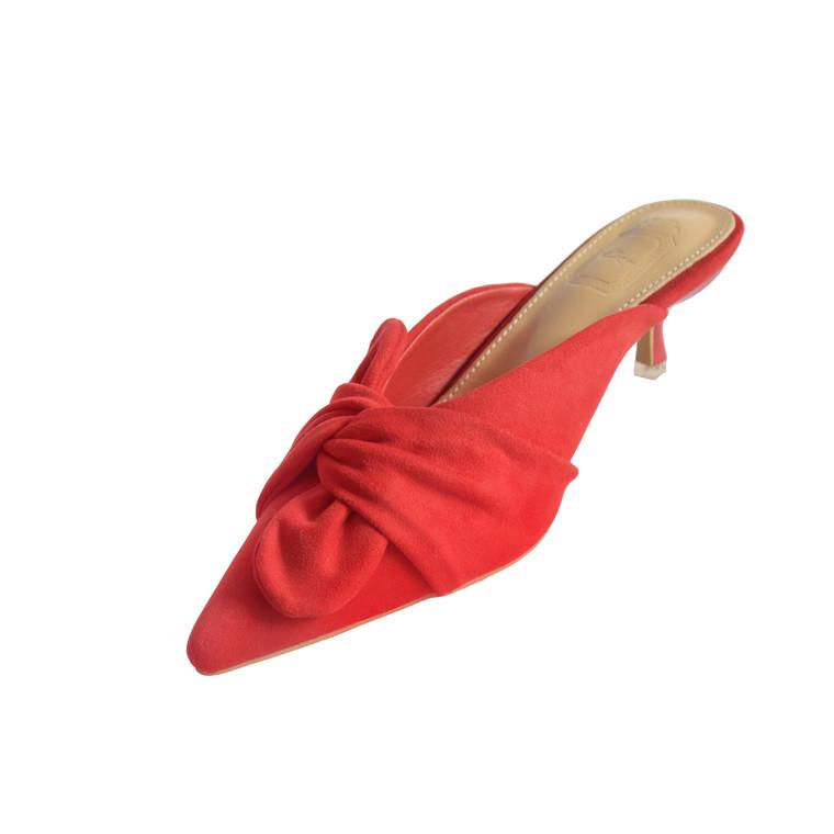 Elizabeth Red Mule Heels