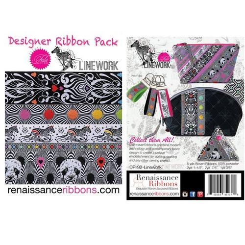 Tula Pink Designer Ribbon Pack by Renaissance Ribbons - Linework