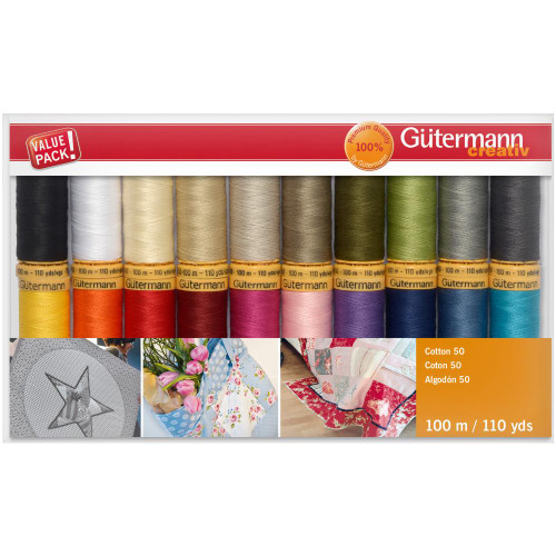Gutermann Creativ Cotton 50 Thread Set - 20 Spools - 100 m/110 yds