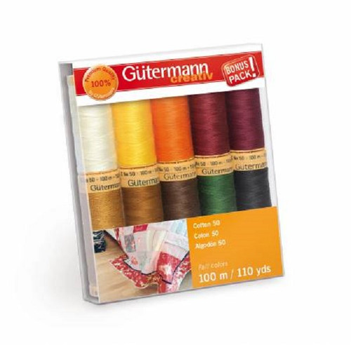 Gutermann Creativ Cotton 50 Thread Set - Fall Colors 10 Spools - 100 m/110 yds