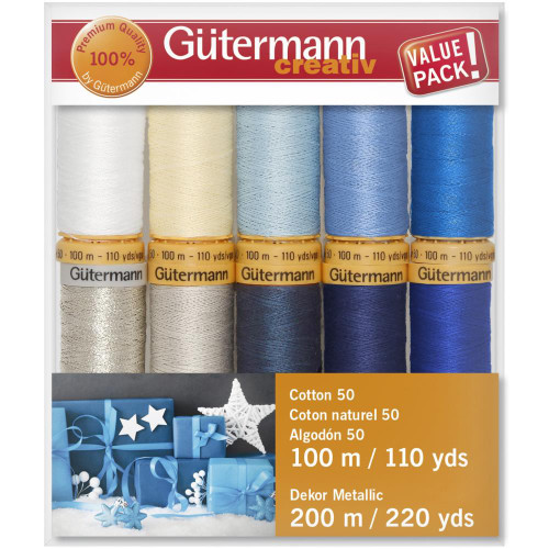 Gutermann Creativ Cotton 50 Thread Set - Silver Metallic-10 Spools-100 m/110 yds