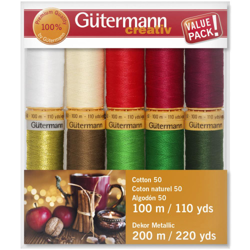 Gutermann Creativ Cotton 50 Thread Set - Gold Metallic- 10 Spools-100 m/110 yds