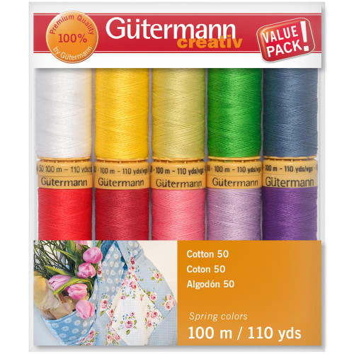 Gutermann Creativ Cotton 50 Thread Set - Spring Colors 10 Spools - 100 m/110 yds
