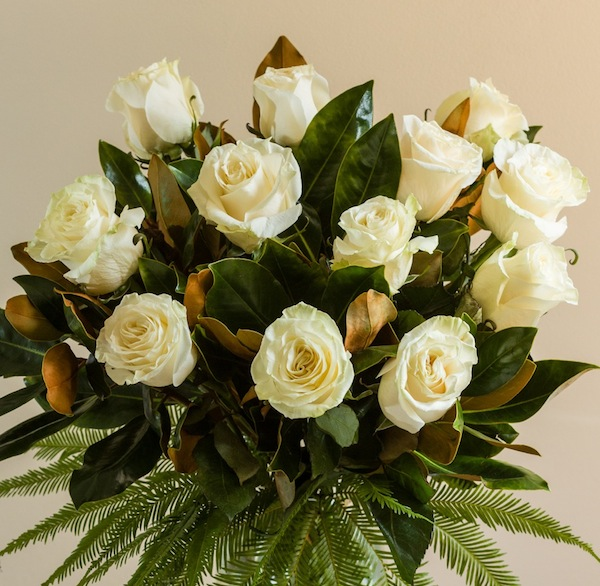 long stemmed rose bouquet with greenery