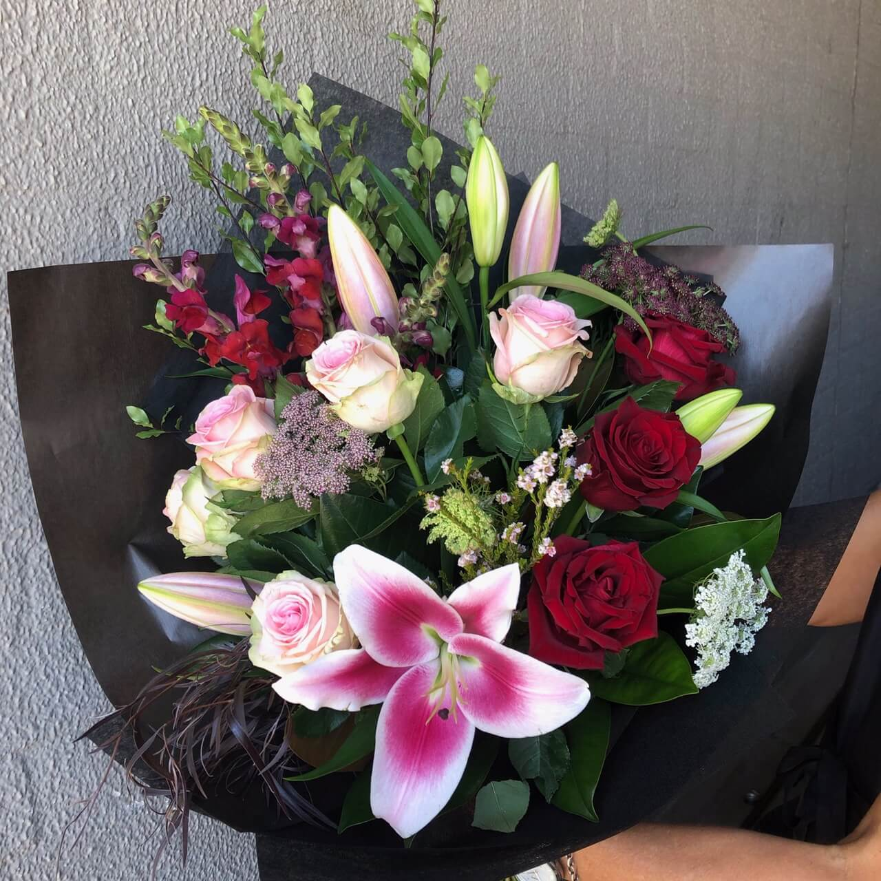 Valentines rose and bloom bouquet