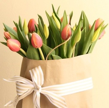 bunch of tulips in a brown paper gift bag