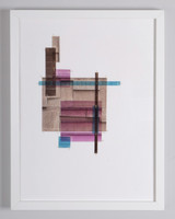 Picture of Wheat, Pink, Turquoise and Saddle Brown by Capucine Boucart with frame
